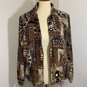 Teddi Multi Pattern Zipper Up Jacket